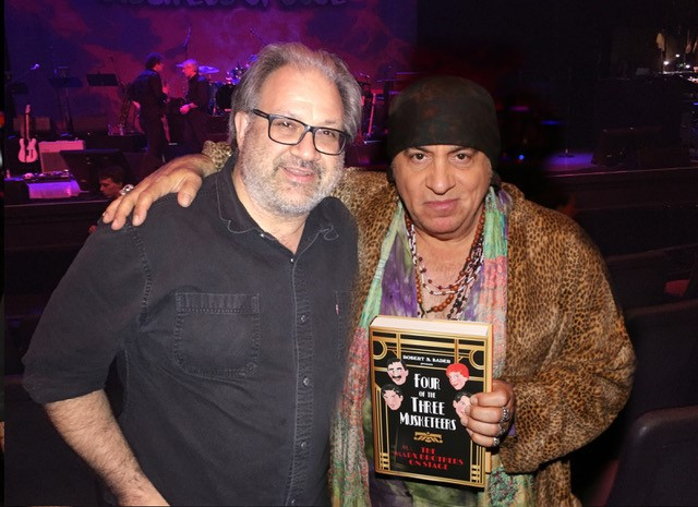 """The author with musician, actor, disc jockey, Rock & Roll Hall of Fame member, and Marx Brothers fan, Steven Van Zandt. According to Van Zandt, """"the Marx Brothers were the first rock band."""" His band Little Steven and the Disciples of Soul recently played the historic Orpheum Theater in Los Angeles, which opened in its third location (842 S. Broadway) on February 15, 1926. The Chico Marx Orchestra played there in August 1942 and June 1943. The Marx Brothers played at the previous location of the Orpheum (630 S. Broadway) five times: September 1911, October 1915, February 1918, April 1920 and March 1922. (The first location of the Orpheum in Los Angeles - 227 S. Spring Street - operated from 1903 until 1911. The Marx Brothers never played there.)"""